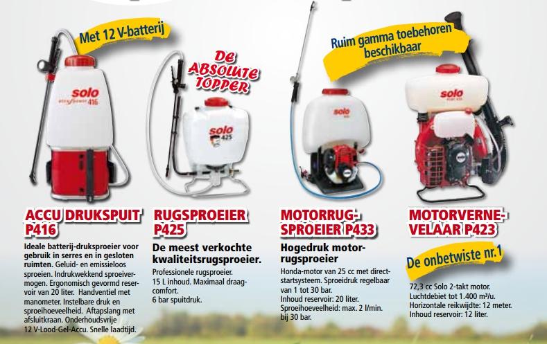 Solo Rugsproeiers Tuinmachines Timmermans Onderhoud herstelling verkoop